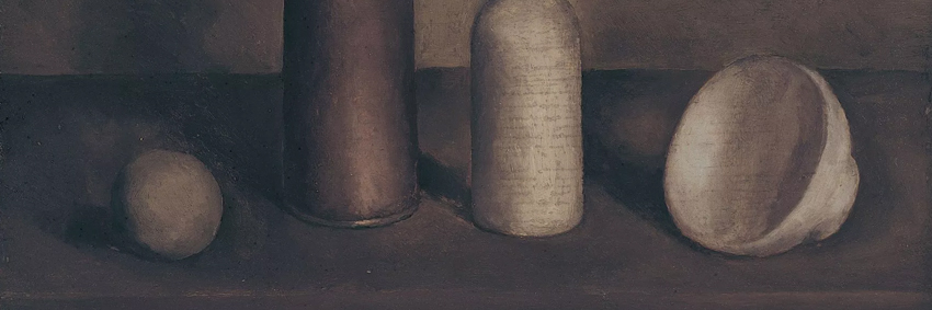 Detail from the artwork  Natura Morta,  by Giorgio Morandi, present at the exhibition.