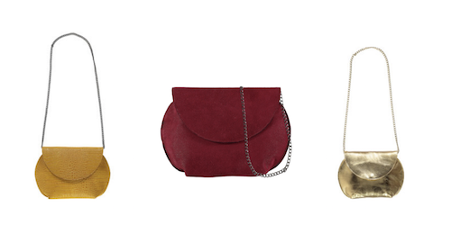 Sister Handbag in  yellow ,  burgundy  and  gold . Also available in  rose gold .  This mid-sized handbag is designed to be versatile and suitable for all occasions. It is made from leather and soft leather lining, giving it a luxurious feel. It features one compartment inside.