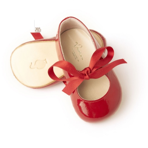 Maria in Red . Our most popular Mary Jane patent shoes with ribbon fastening. These shoes come in a beautifully handcrafted wooden shoe box.