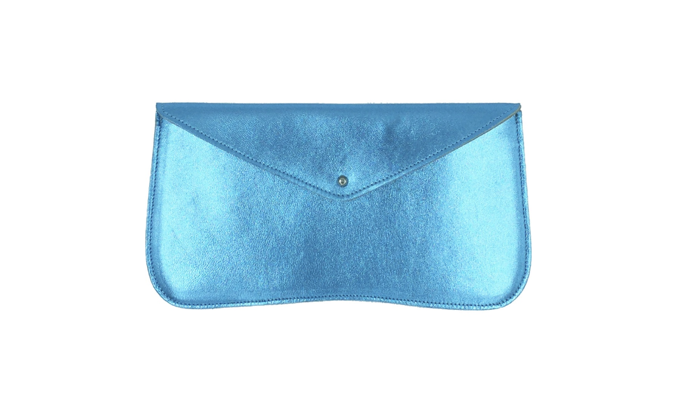 GAYLE WALLET IN METALLIC BLUE    Beautiful and practical, this wallet is perfect for a special occasion or a night out. It's designed to hold credit cards, money, lip gloss and keys.     £34