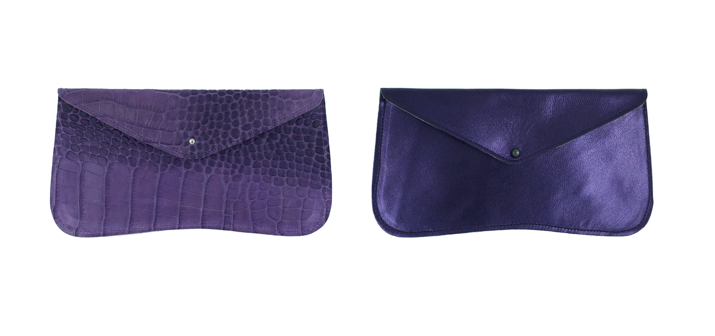 GAYLE WALLET    These purple beauties are available in croc embossed (left) or plain (right). Our wallets are made with high quality leather with a soft leather lining to give it a luxurious feel.     £34