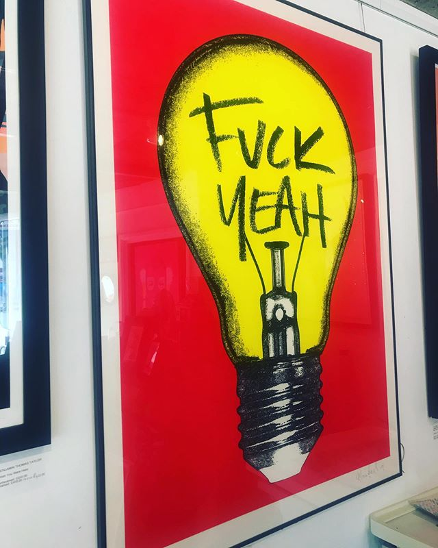 THANK 'FUCK YEAH' ITS FRIDAY and our featured artist @oli.fowlerart is giving it large with a massive screenprint measuring 1189 x 841 mm it's a beast and it's only £400!!! Get 10% off online by using the code SUMMER19 or come into the gallery and get a half price frame. DM us to reserve before it fucks off! #fuckyeah #lightbulb #buyart #discount #red #oliverfowlerart  #contemporaryart #screenprinting #art #tgifridays #friyay #partytime