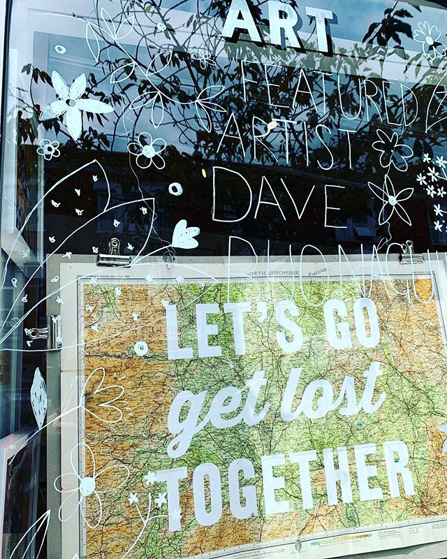 We are open today with our new window display featuring @realhackneydave who is the featured artist. The website went down last night so those wishing to make orders and use our SUMMER19 10% off discount will able to complete today. #techtuesday #realhackneydave #art #opentoday #goodmorning #map #screenprinting #contemporaryart