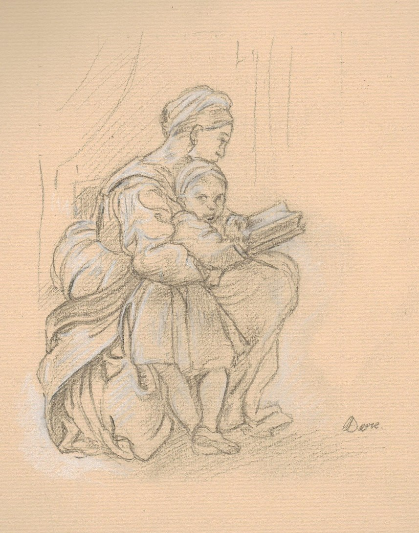- Fig 1. Mother and child with book, pencil and chalk on stone pastel paper.