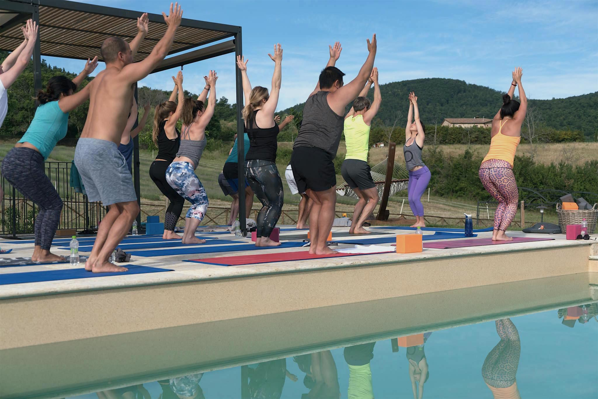Tuscany villa poolside yoga