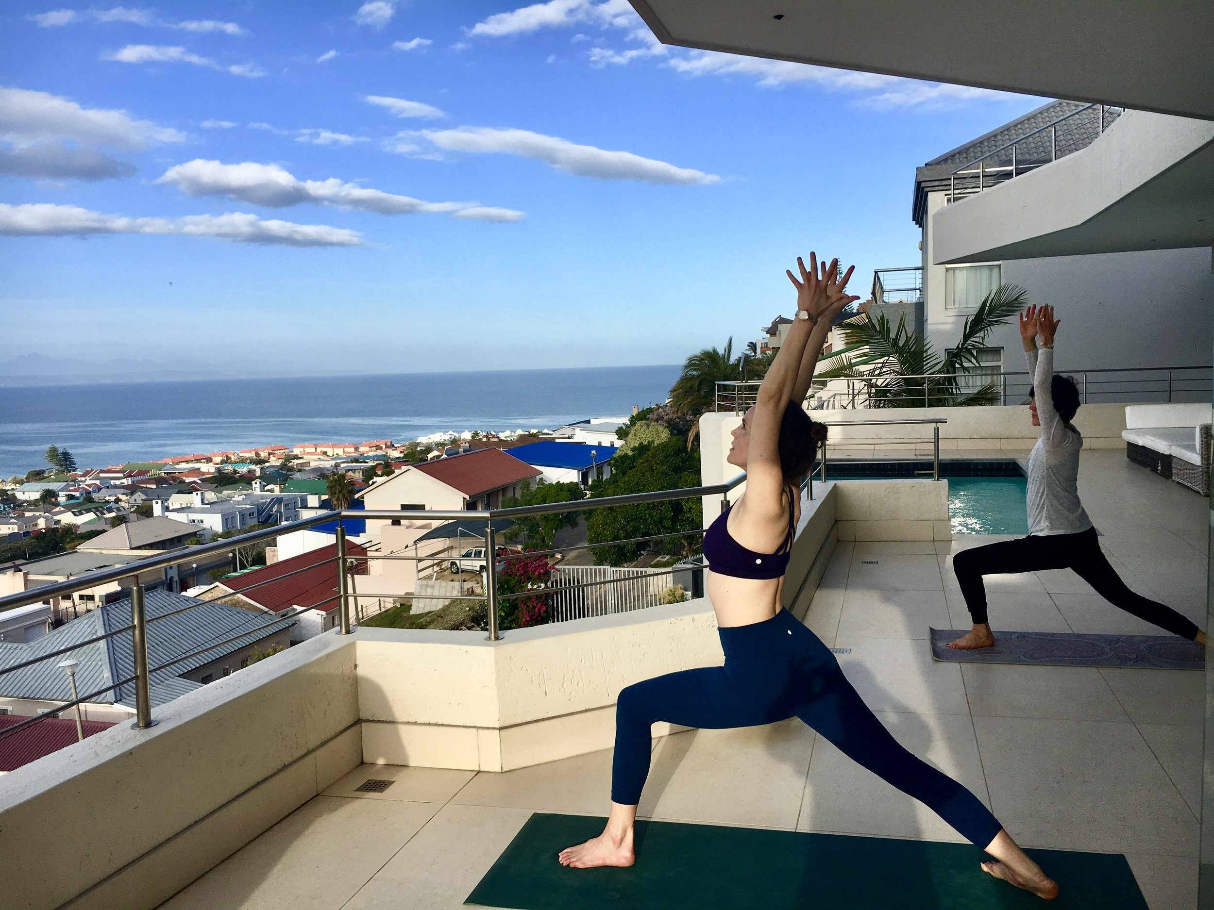 Where it all started for Nina - yoga with her mother, Diana, in South Africa.