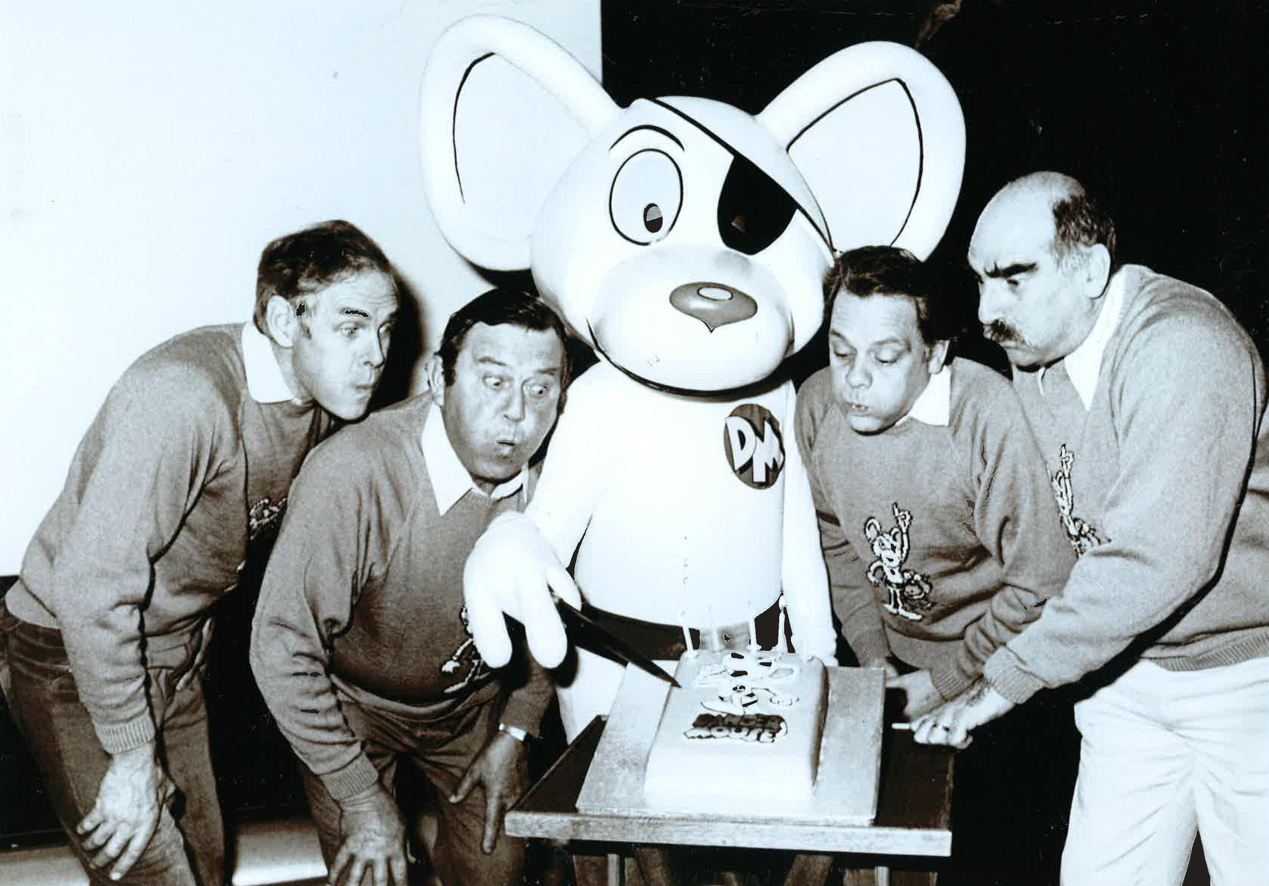 Brian Trueman, Terry Scott, Dangermouse, David Jason and Edward Kelsey. Image courtesy of Brian Cosgrove