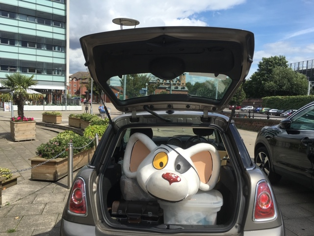 Dangermouse head arriving at Waterside Arts