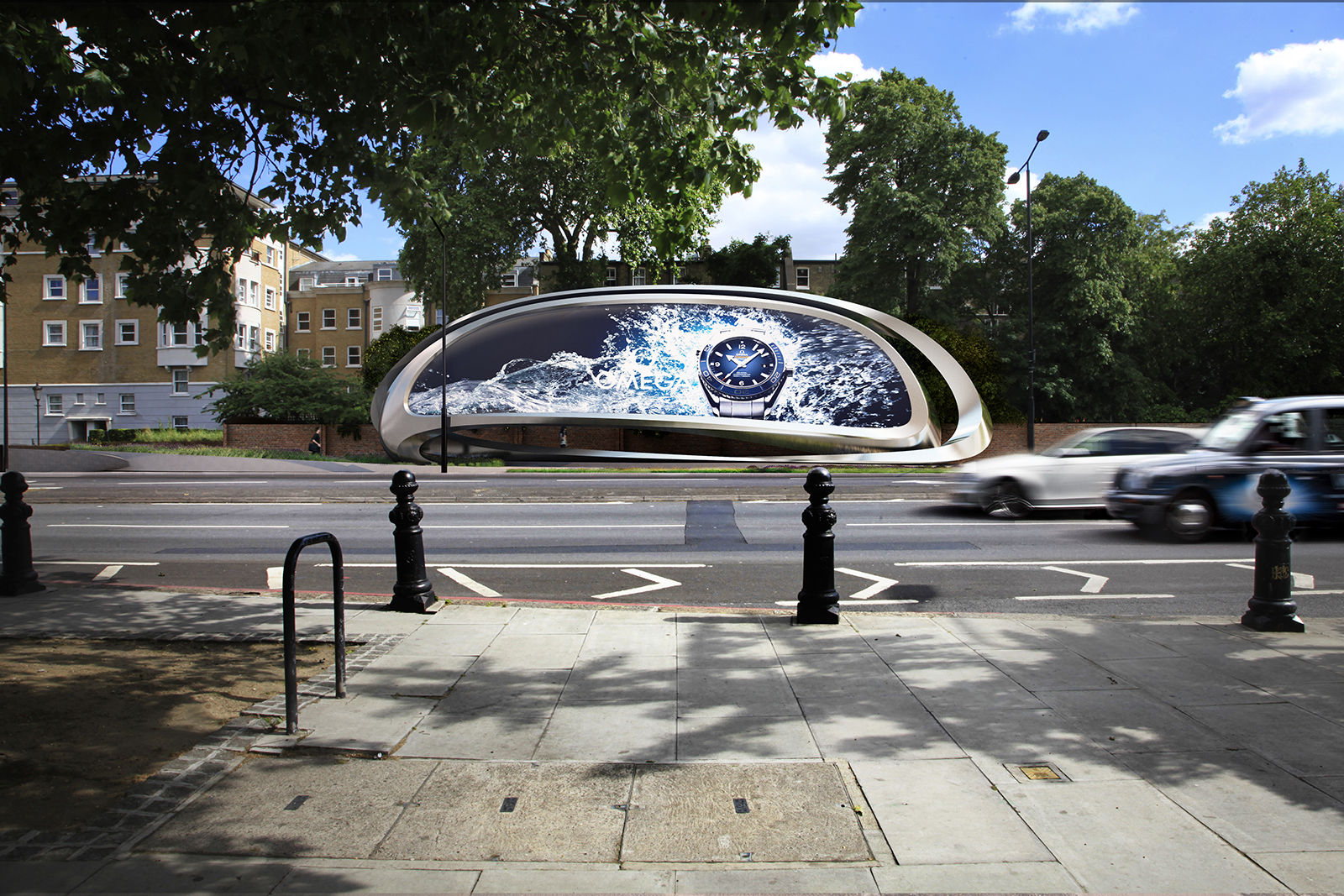View of The Kensington, by Zaha Hadid Architects for JCDecaux in Earls Court.