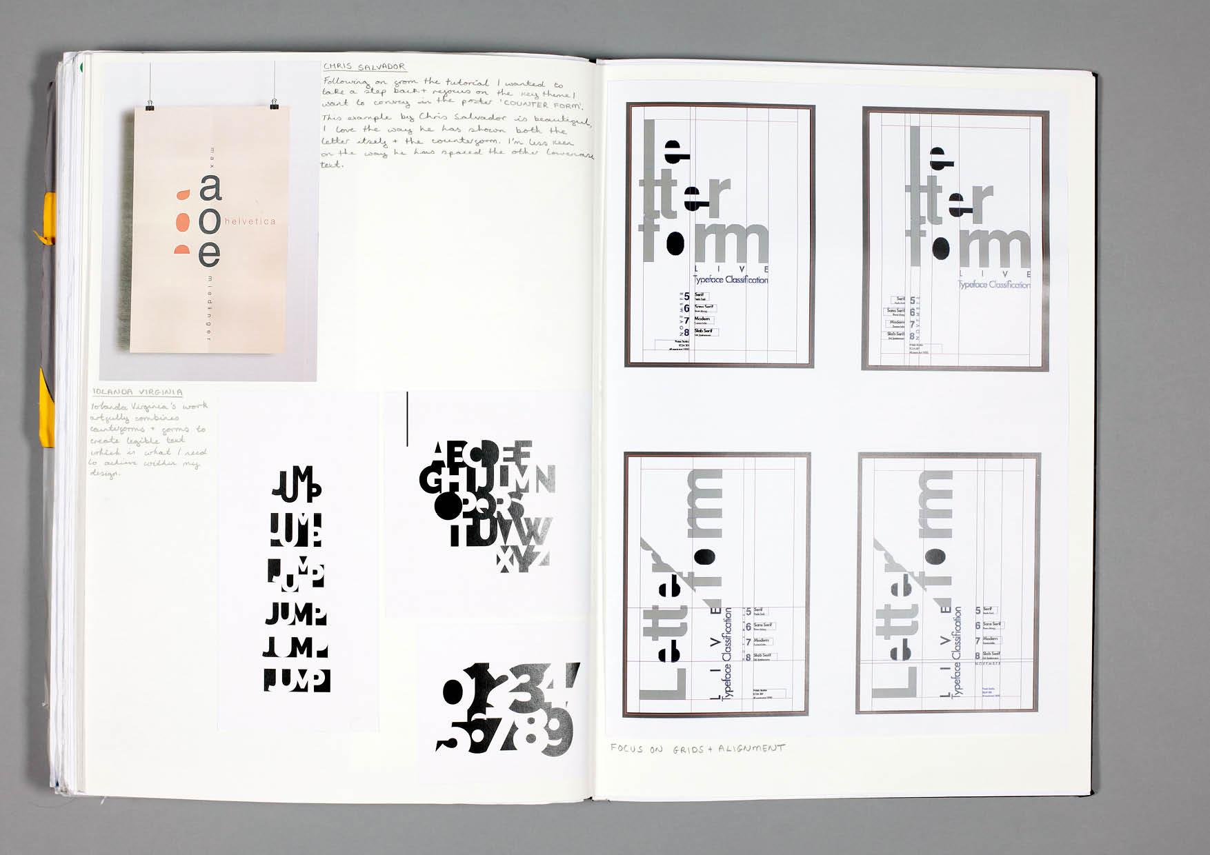 Design by Mils Letterform Sketchbook Page