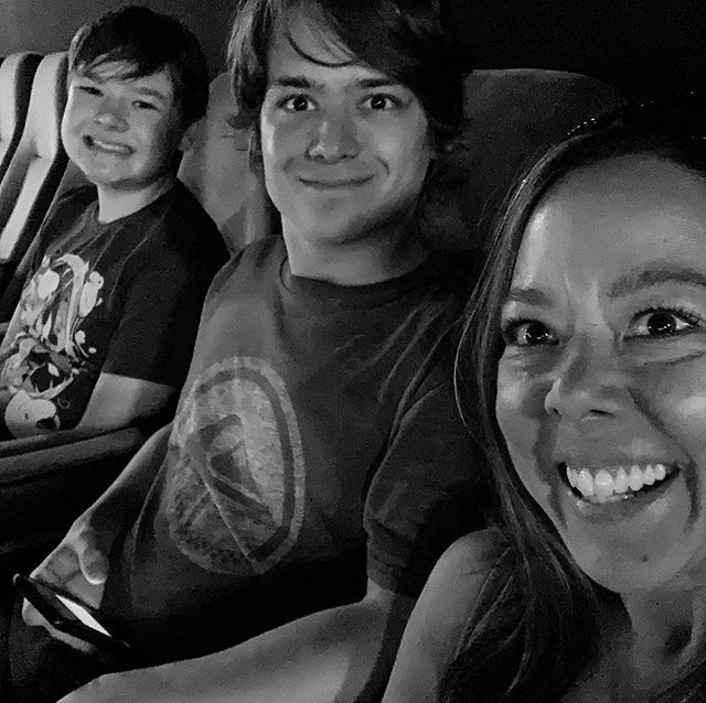 I'm a lucky mama. Lunch and a movie with my dudes yesterday.❤️ (Swipe to see the real version. 😂) #socialmediatruth #outtakes #momproblems #theyresotiredofme #idontcare #saycheesedamnit #momsbelike