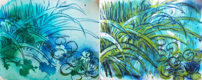 Flowing Grasses, Flowing Waters Diptych