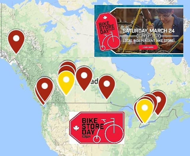By our count, around 40! Canadian bike stores celebrating the inaugural edition of #BikeStoreDay2018! We are really pleased to see such strong response given the short time frame we were working with this year. Thanks to all the retailers that participated and we wish you all a prosperous 2018! #bikestoreday #shoplocal