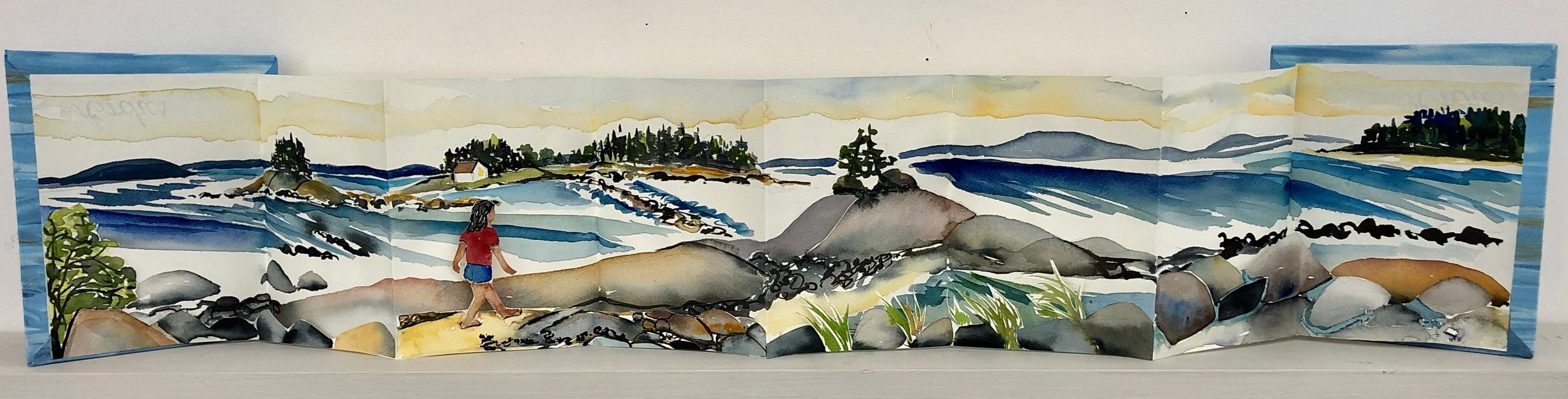 """Walking to the Islands.  Three dimensional accordion book: watercolor, ink, cut paper on Arches Text wove paper. 6-1/2""""x7"""" closed. 6-1/2""""x34"""" open."""