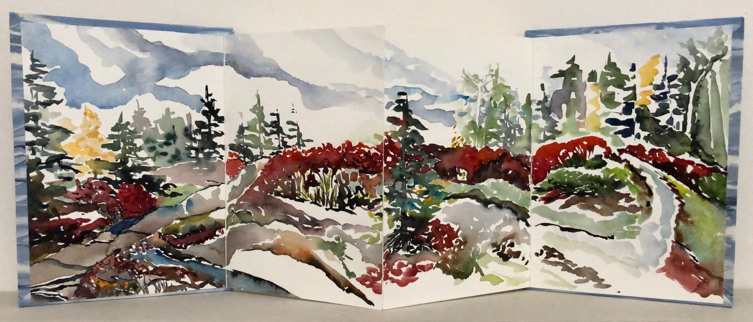 """100 Acre Woods.  Large format book: Watercolor, Ink, cut paper on BFK Rives watercolor paper. 11""""x8"""" closed. 11'""""x28"""" open."""
