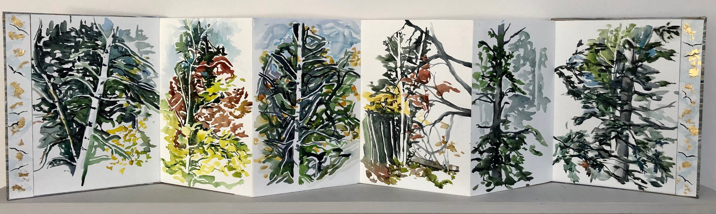 """Through the Windows.  Large format book: Watercolor, Ink, cut paper on BFK Rives watercolor paper. 11""""x9"""" closed. 11'""""x40"""" open."""