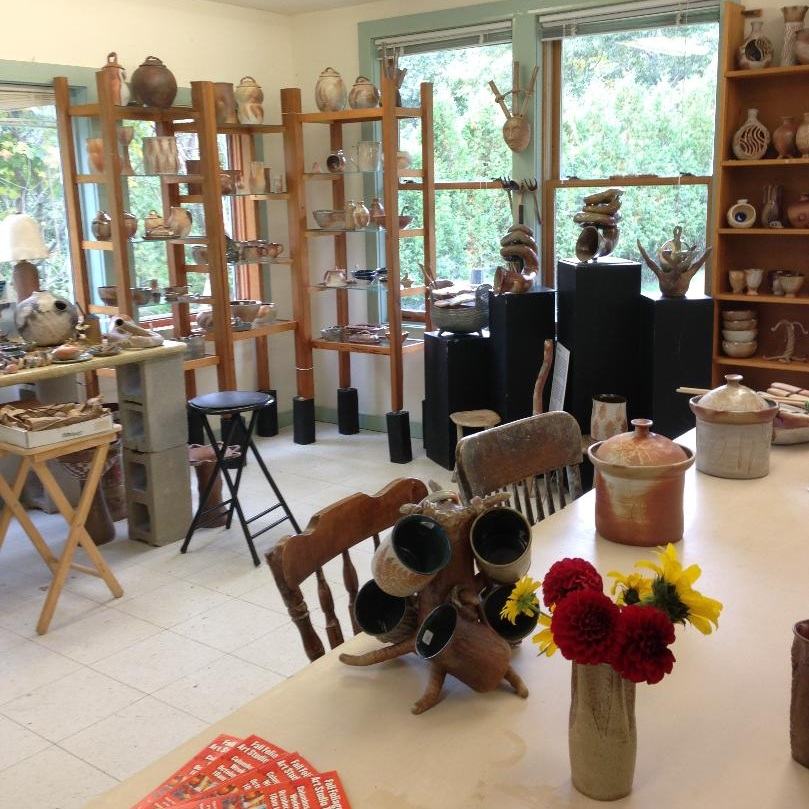 Retail corner of the studio, set up for the annual Fall Foliage Art Studio Tour, on Columbus Day weekend.