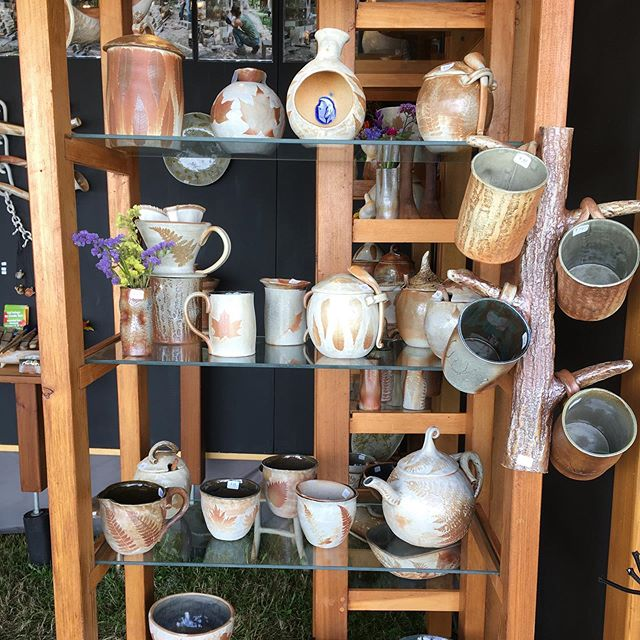 It's been a great week at Sunapee! Two more days, we're here 10am-5pm. #leagueofnhcraftsmensfair #nhcraftsmensfair #handbuiltpottery #woodfiredpottery