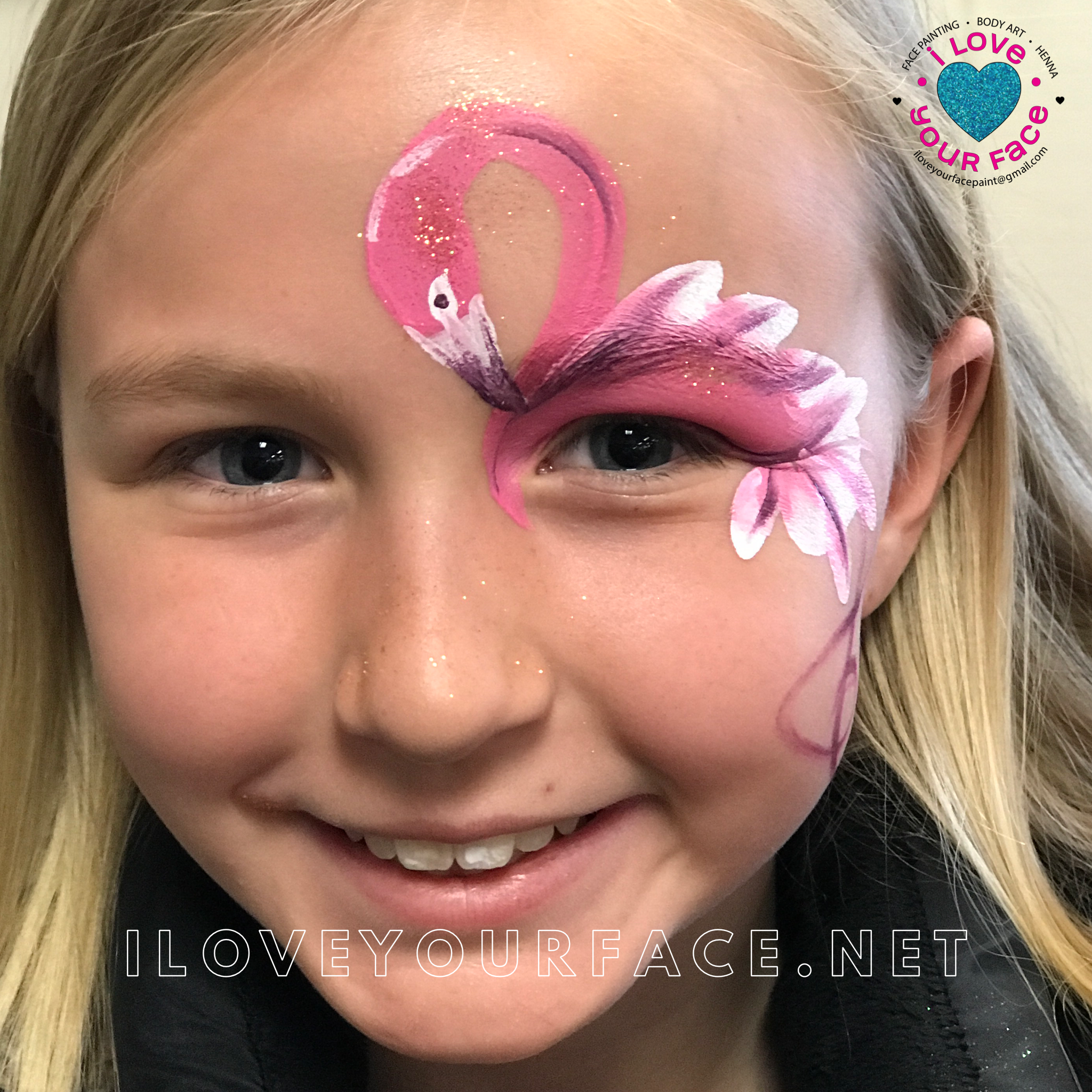Face Painting FUN in West Michigan with this beautiful flamingo.