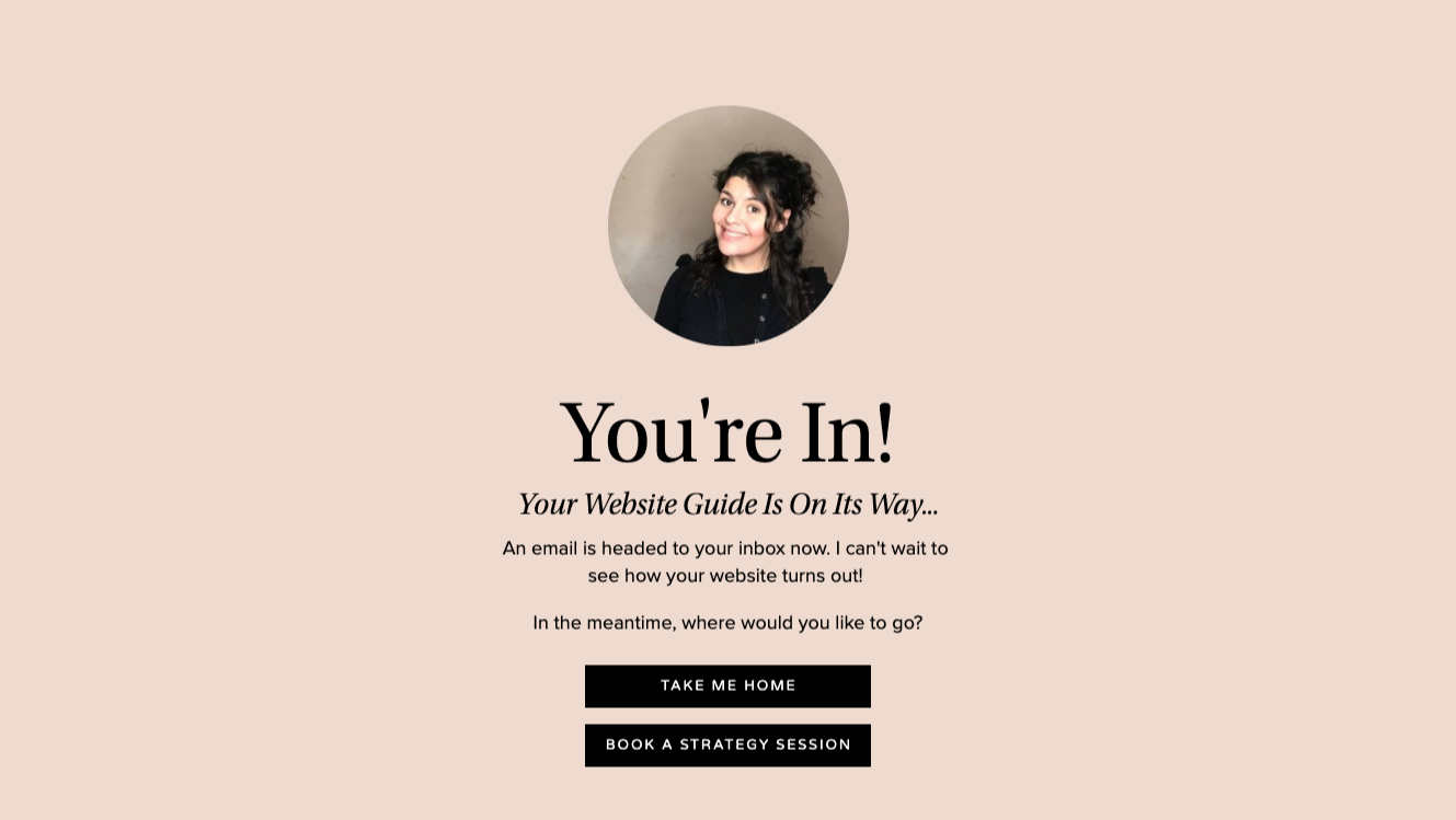 Squarespace thank you page