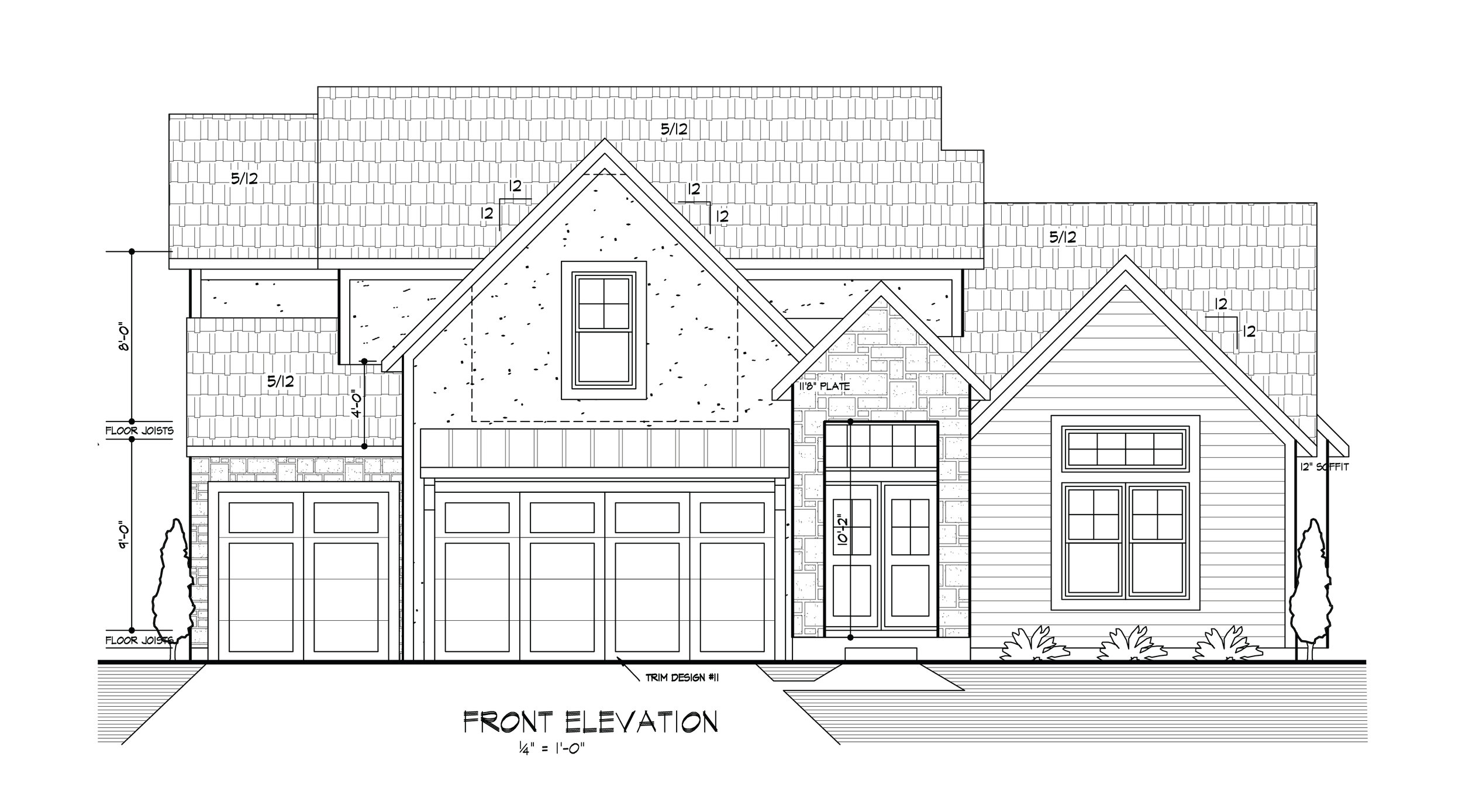 The new front elevation from the builder