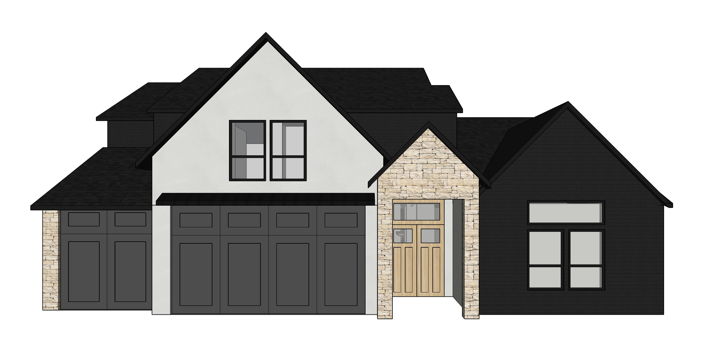 our 3d model with materials — warm, neutral stone, light gray stucco, and charcoal siding