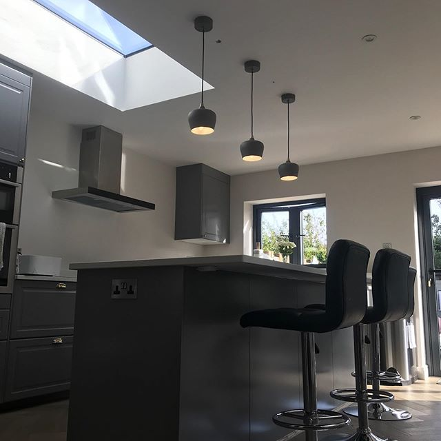 New extension with kitchen works within... #electrician #kitchen #lighting #shadesofgrey