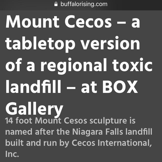 MOUNT CECOS - Buffalo RIsing Article - https://www.buffalorising.com/2019/05/mount-cecos-a-tabletop-version-of-a-regional-toxic-landfill-at-box-gallery/