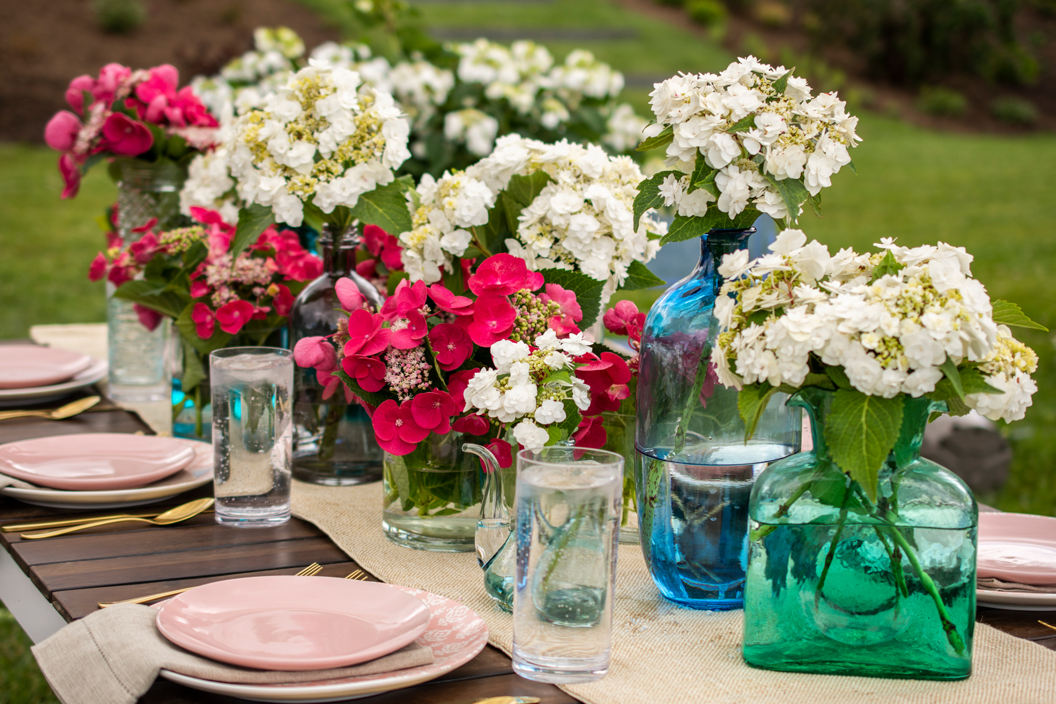 Hydrangea Cherry Explosion and Wedding Gown are beautiful in both vases and in the garden.