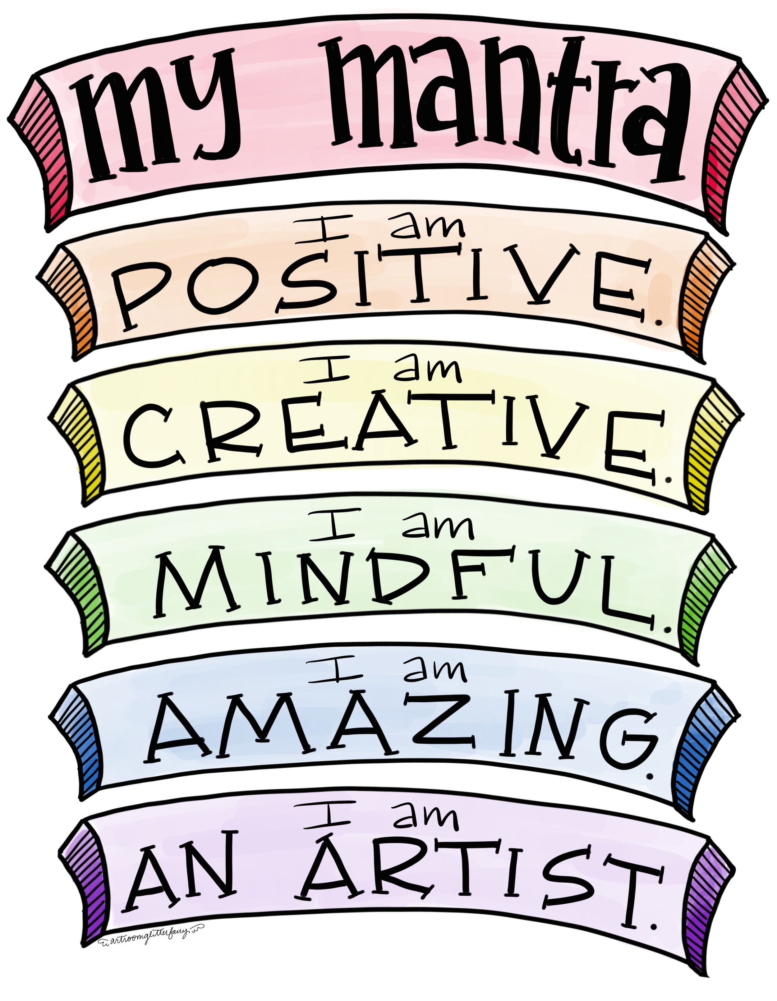 Our Art Mantra - At the beginning of each art class, our students recite our mantra, encouraging positive self talk. There are corresponding hand motions that go with each affirmation. Check out the video to see our mantra in action!