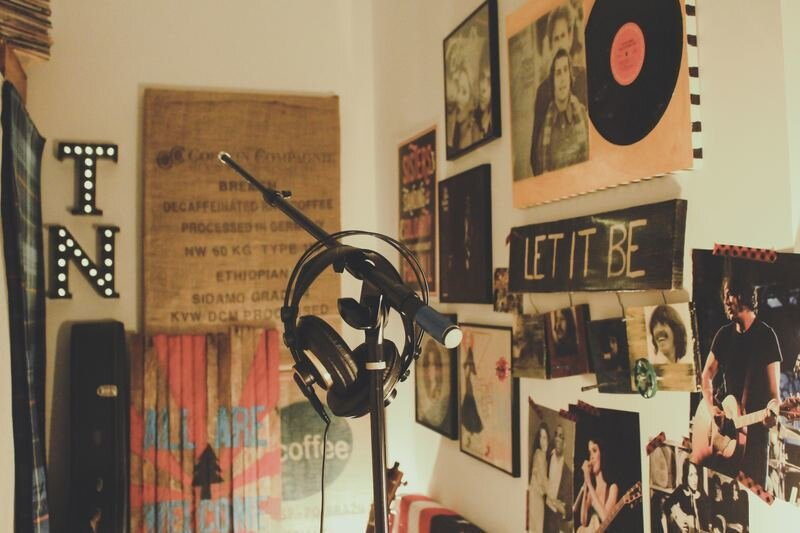 Recording Booth Headphones Boom Stand TN and Let it Be Sign on Wall.jpg