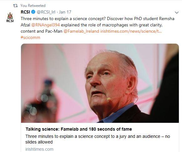 RCSI twitter account picks up Irish Times article on FameLab