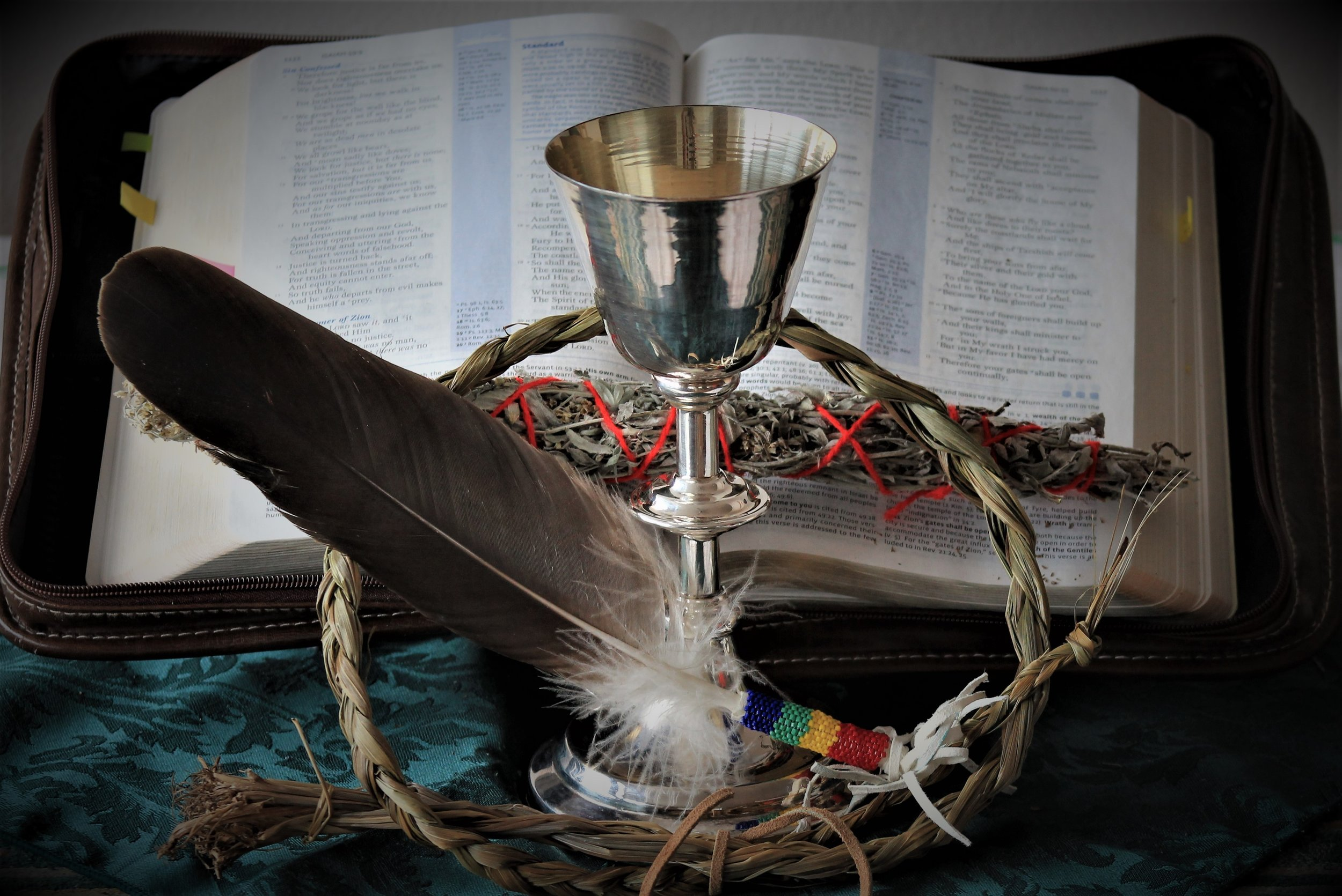 Psalm 66:19 - 67:1 - But truly God has listened; he has given heed to the words of my prayer. Blessed be God, because he has not rejected my prayer or removed his steadfast love from me.May God be gracious to us and bless us and make his face to shine upon us.Chalice & Eagle Feather photograph provided by Tracy Harper