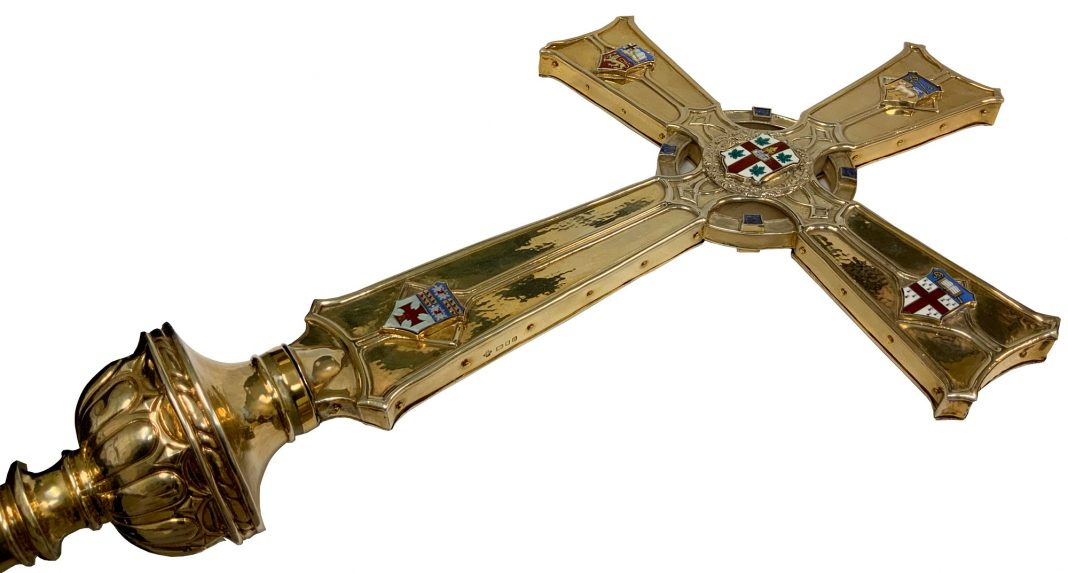 The primatial cross is the only official symbol of the primate of the Anglican Church of Canada. It was first presented to General Synod in 1937 after the submission of numerous designs. The cross is made of silver gilt and features the arms of General Synod and of the four original dioceses of the Canadian church. Photo: Saskia Rowley
