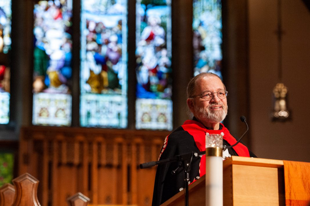 2019, National Indigenous Anglican Bishop Mark MacDonald preaches at Christ Church Cathedral, Vancouver. Photo: Milos Tosic