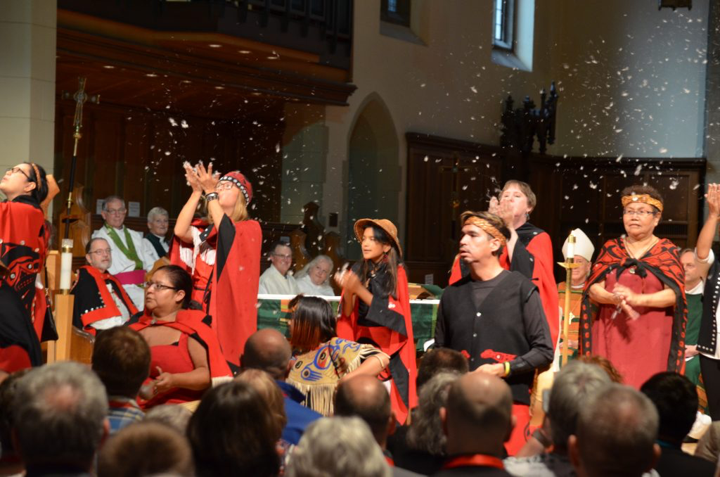 The Kwhlii Gibaygum Nisga'a Dancers perform at opening worship. Photo: Matthew Townsend