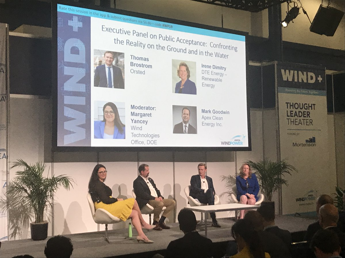 "ACE New York and NYOWA members presenting at WINDPOWER2019 in Houston: ""Confronting the Reality on the Ground and in the Water"" w/ Thomas Brostrom of Orsted, Irene Dimitry DTE Energy, Mark Goodwill of Apex Clean Energy, Moderator Margaret Yancey, Wind Technologies off of the DOE."