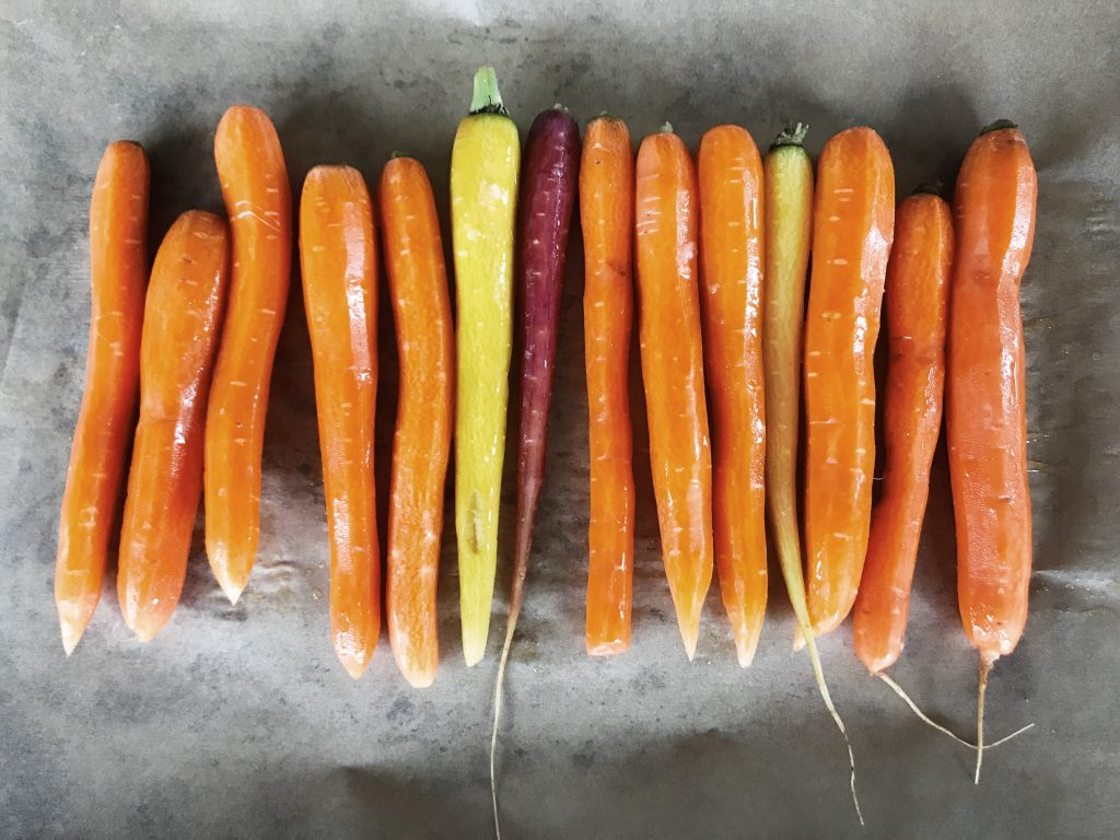 Rainbow carrots ready for roasting