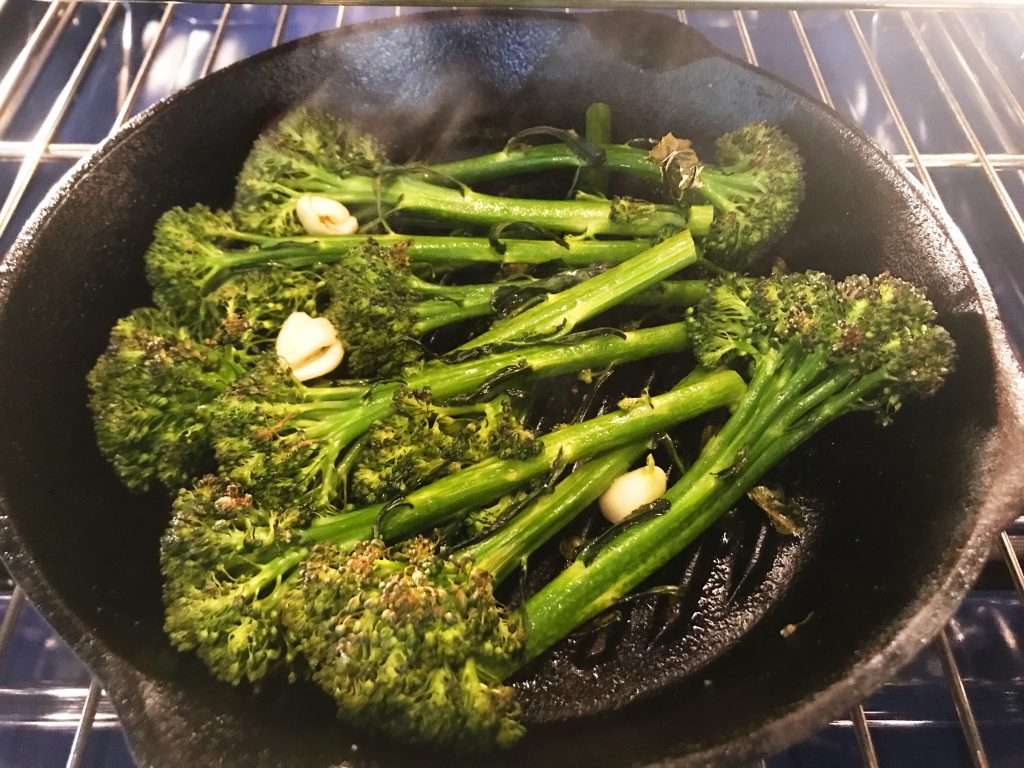 Meal Prep: Roasted broccolini coming out of the oven