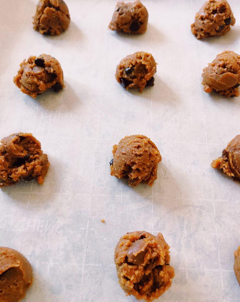 Unbaked coffee toffee chocolate chip cookies
