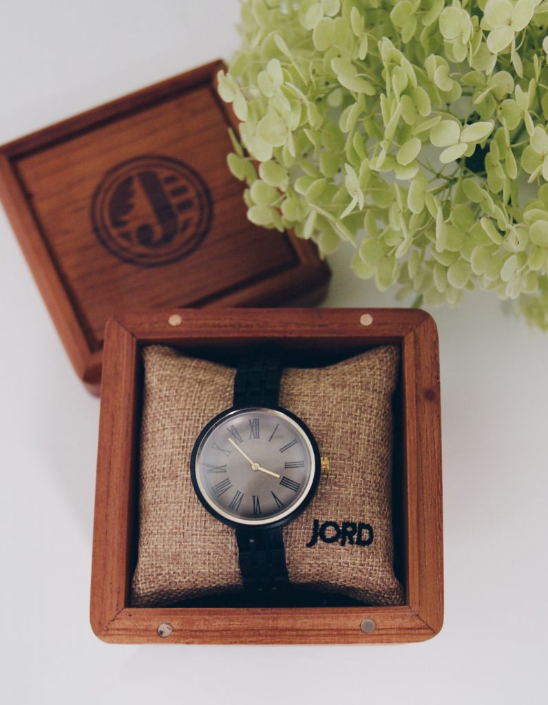 My unique minimalist watch in its gorgeous wood case