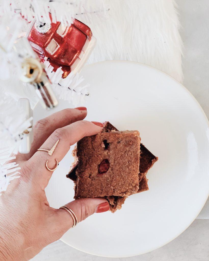 Cozy Almond Flour Blondie Recipe. With Cranberry, orange. Gluten free!