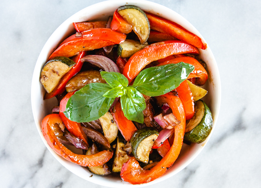 Roasted Summer Vegetables With Balsamic Vinegar. An easy, healthy recipe from the  Fresh + Lively  blog. #oven #quick #paleo #whole30 #seasoning #pan #mealprep #vegan #dinner #salad #lowcarb #medley #mediterranean #weightwatchers