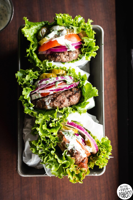 Easy Bunless Burgers With Paleo Cilantro Dill Mayo Sauce