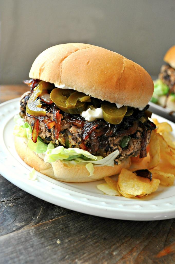Vegan Cheesy Jalapeño Burgers