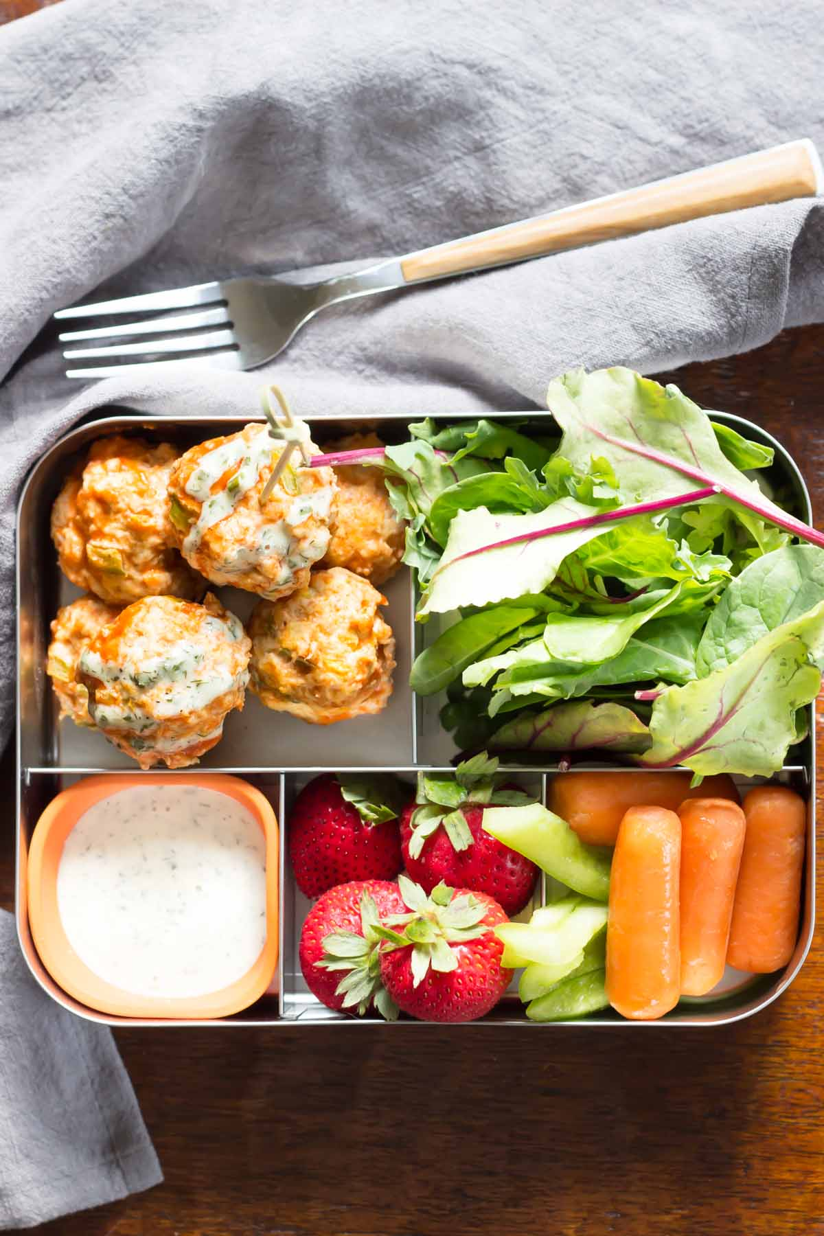 Deez Balls - I don't think I've ever met a child who doesn't like buffalo chicken, which is one of the many reasons these meal-preppable meatballs from Wicked Spatula are genius. I plan on doubling the recipe and freezing the extra. That way, I can pop a few into James' bento and let them defrost overnight in the fridge for an easy make-ahead school lunch.