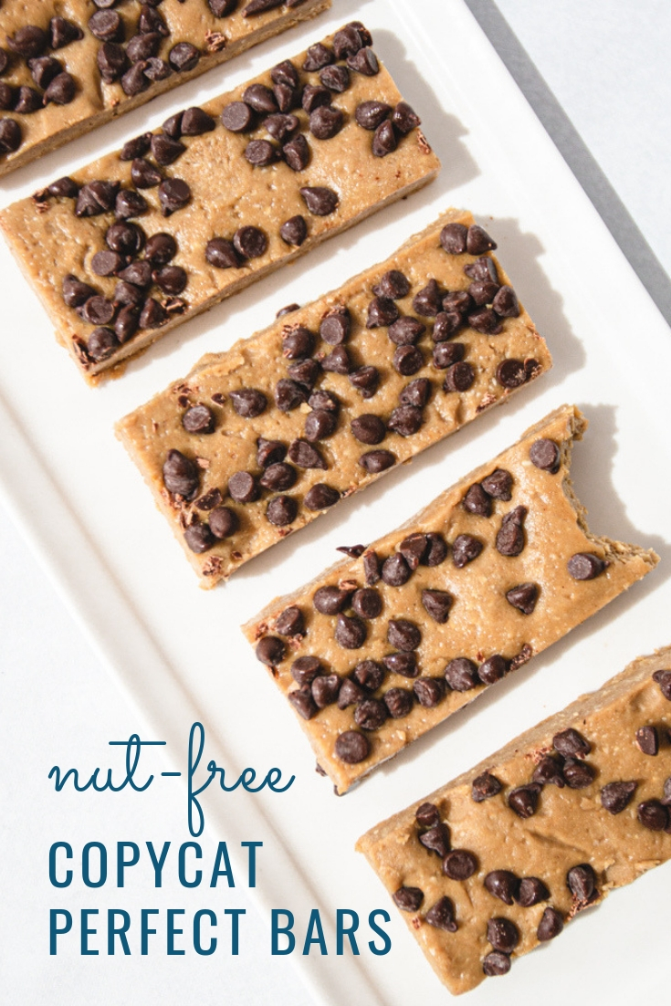 Recipe for Homemade Copycat Perfect Bars. Nut-Free and just 5 ingredients! #paleo #forkids #schoolsafe #allergyfriendly