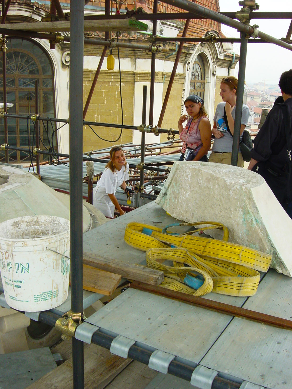 Florence, Ch. S. Lorenzo - visit to restoration of lantern on the Sagrestia Nuova