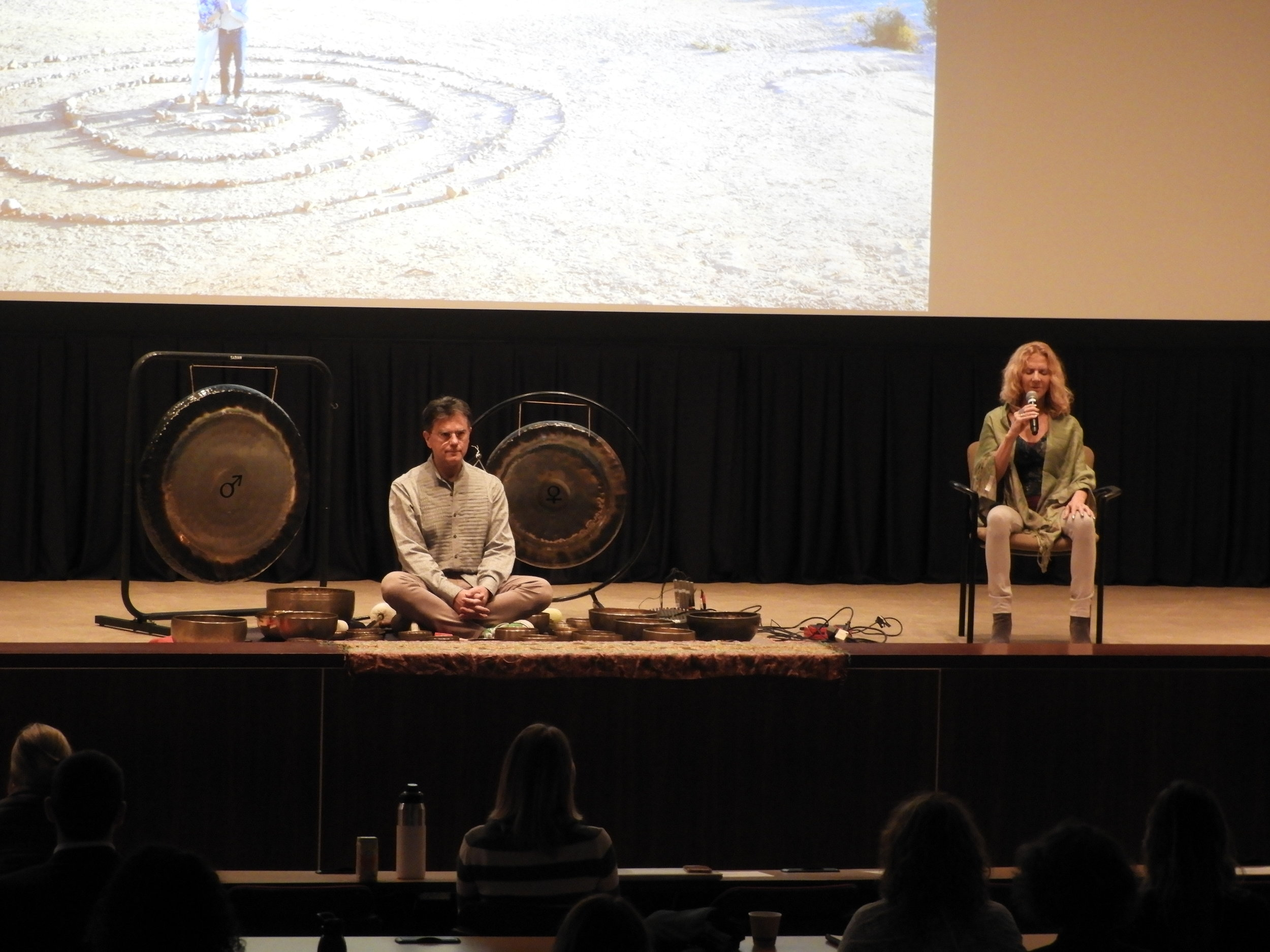 Jahna and Michael Perricone offering a music and Tibetan bowl sound bath
