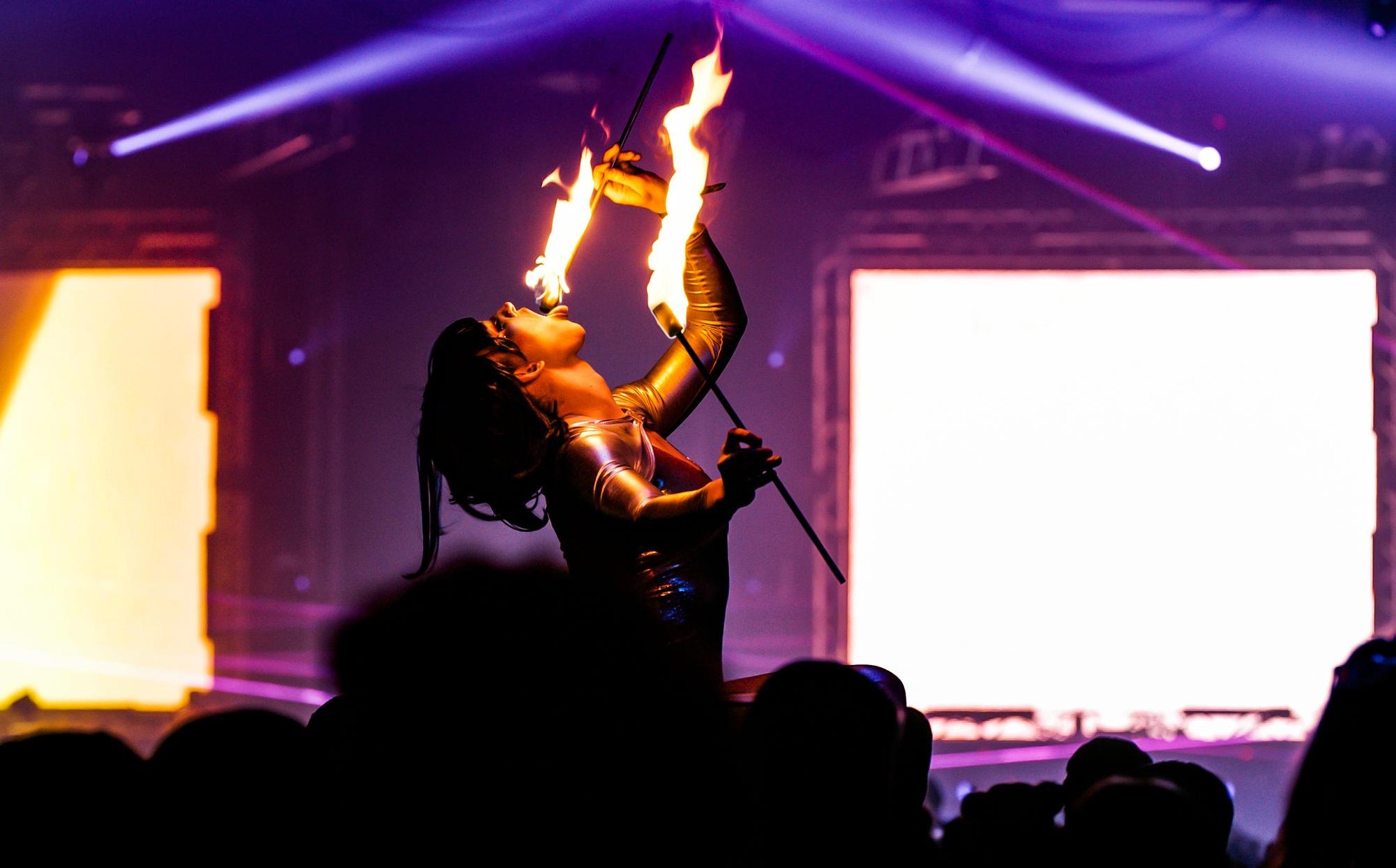 Fire dancer at Lights All Night 2018